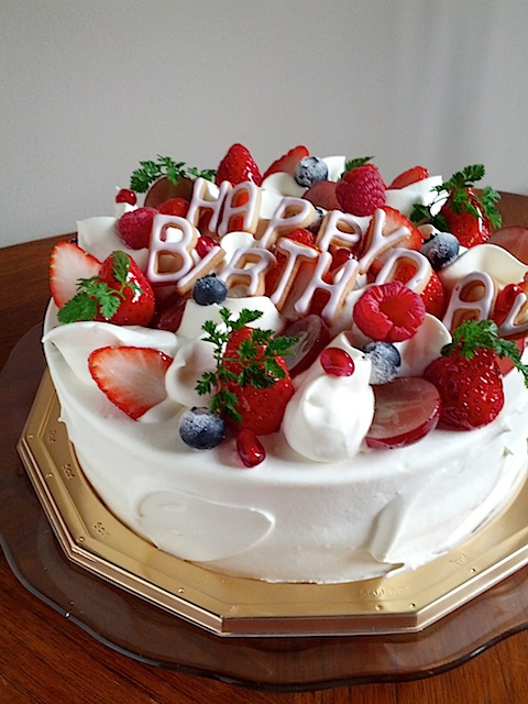 Happy birthday Strawberry sponge cake